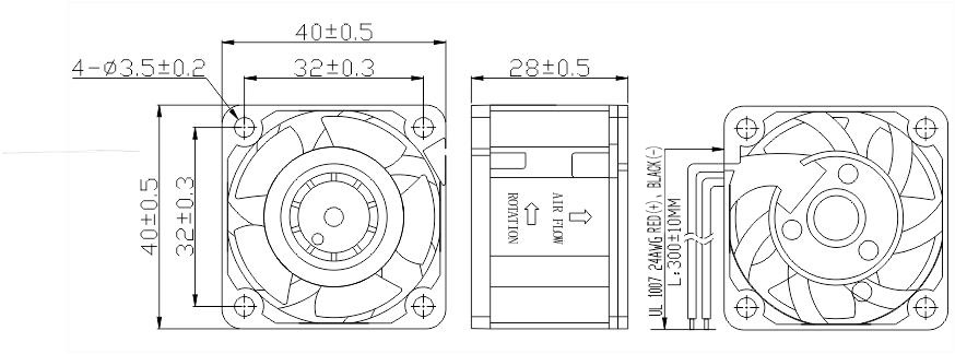 DC4028 AXIAL FAN DRAWING