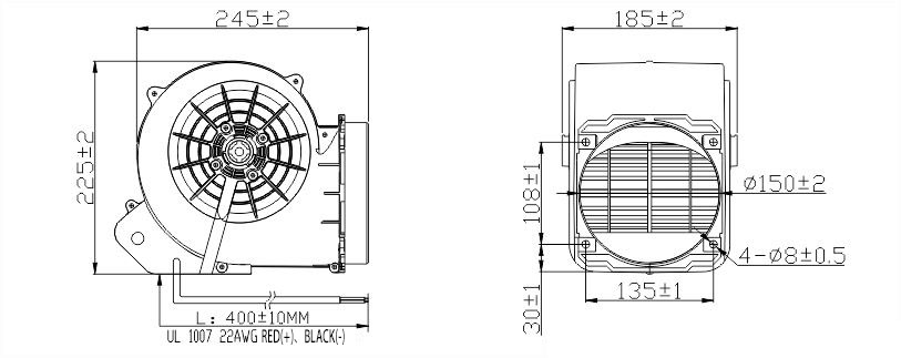 DB155 BLOWER FAN DRAWING